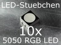 10x 5050 RGB SMD LED Black Face Diffused PLCC6 Schwarz